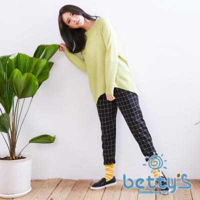 betty's貝蒂思 質感格紋哈倫褲(黑色)
