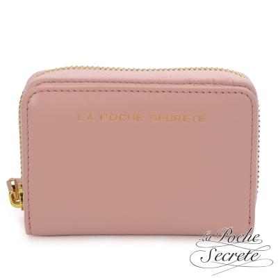 La-Poche-Secrete-簡約風格質感真皮萬用卡片零錢包-櫻花粉