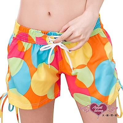 海灘褲 熱情狂放 女款休閒沙灘短褲(彩色圓點F) AngelHoney天使霓裳