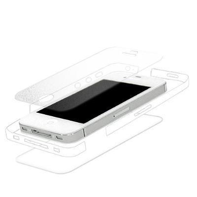iPhone 4S 全機纖薄無重感抗刮保護膜(晶瀅透亮機背貼+絲絨霧螢幕貼+邊膜...