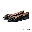 達芙妮DAPHNE 平底鞋-金屬圓環蝴蝶結平底鞋-黑