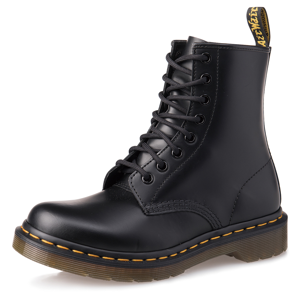 Dr.Martens-經典1460 8孔亮皮馬汀靴-女款-黑色