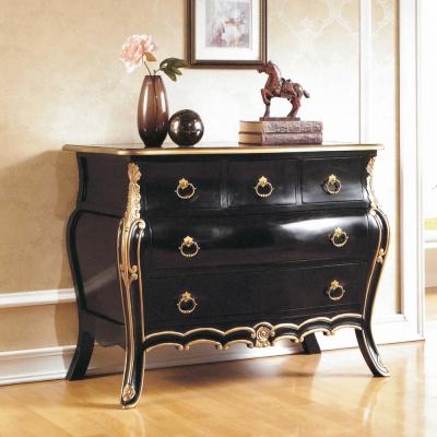 AT HOME-帝國法式黑金色五抽櫃