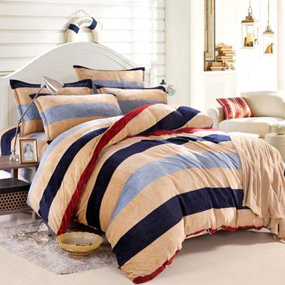 美夢元素 超柔軟法蘭絨雙人加大四件式床包組-裸婚時代