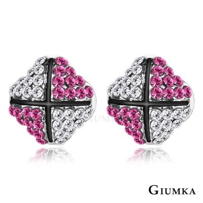 GIUMKA 綻放花蕾 水晶耳環-桃紅