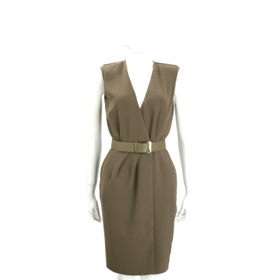 ELISABETTA FRANCHI 軍綠色深V設計無袖洋裝(附腰帶)