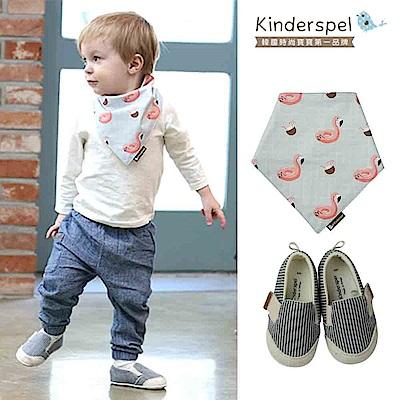 Kinderspel郊遊趣休閒學步鞋-藍白條紋+有機棉圍兜領巾-熱帶紅鶴