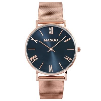 MANGO羅馬時標米蘭帶時尚手錶-深藍X玫瑰金/37mm