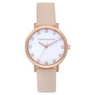 Christian Paul 奢華水晶系列 玫瑰金框/粉桃色皮革手錶35mm