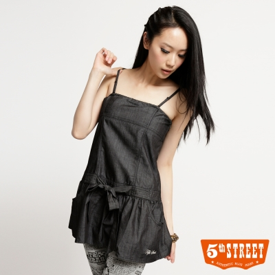 5th-STREET-洋裝-綁結細肩帶牛仔洋裝-女-黑色