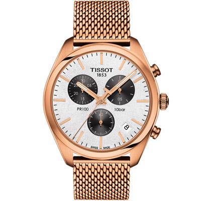 TISSOT 天梭 PR100經典時尚米蘭帶石英計時腕錶-玫瑰金色