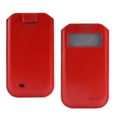 Miravivi 4.7吋通用 簡約時尚感應觸控開窗式皮革手機袋