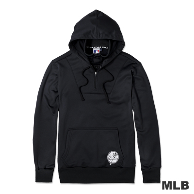MLB-紐約洋基隊假兩件帥氣立領連帽LOGO印花厚T恤-黑色(男)