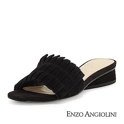 ENZO ANGIOLINI--一字寬帶低跟涼拖鞋-優雅黑