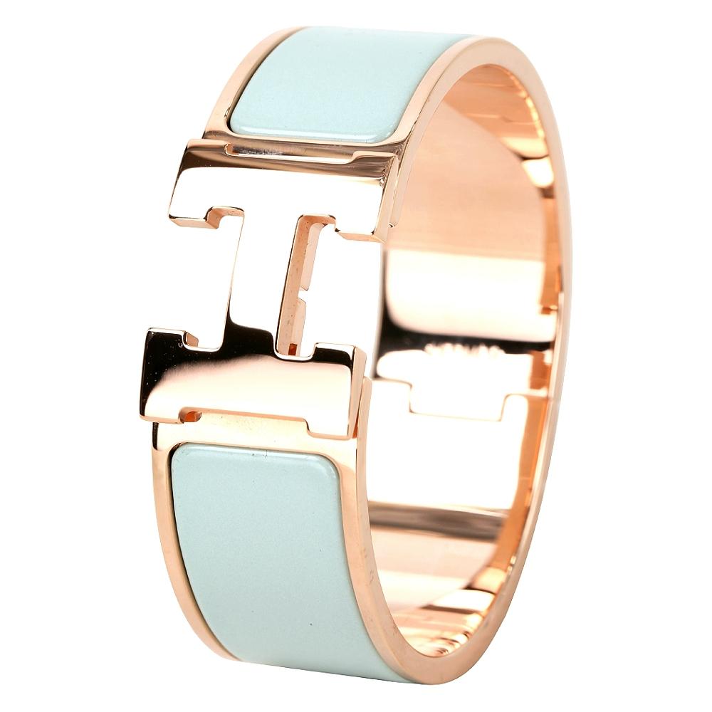 (無卡分期12期)HERMES Clic Clac H PM經典LOGO設計手環(淺綠x玫瑰金)