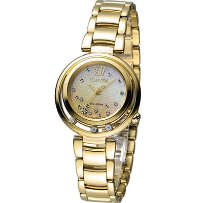 CITIZEN L系列 女神之吻光動能真鑽腕錶(EM0328-57P)-金/30mm