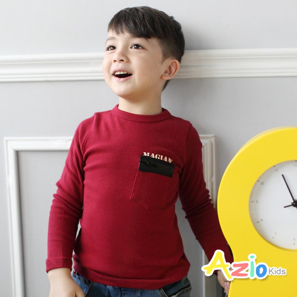 Azio Kids-上衣 拉鍊假口袋後字母棉質T恤(紅)