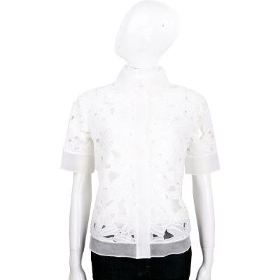 BLUGIRL 白色縷空織花短袖襯衫