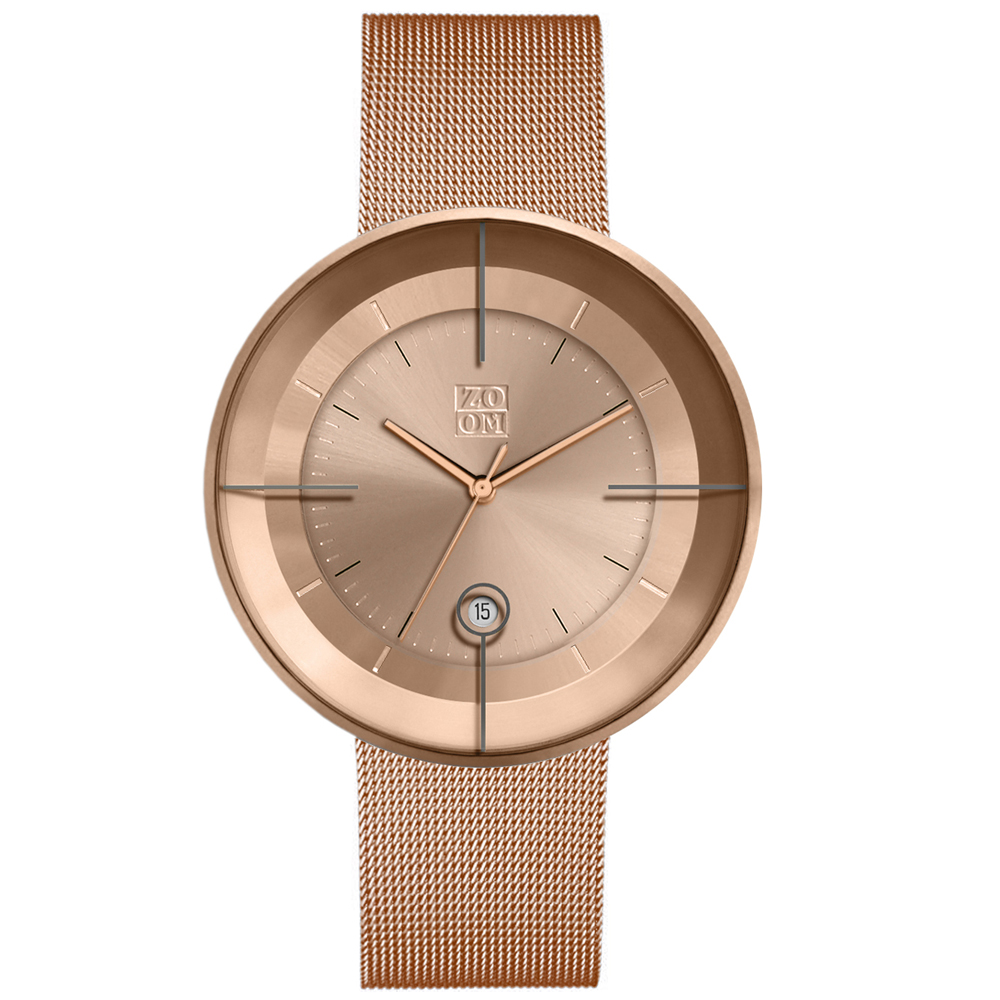 ZOOM FLOATING 光燦美學米蘭腕錶-玫瑰金/42.5mm