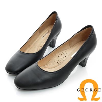 GEORGE-經典素面舒適真皮中跟鞋-黑色