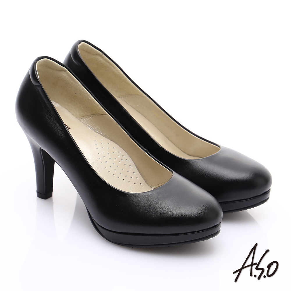 A.S.O 舒適通勤 全牛皮窩心通勤跟鞋 黑軟皮