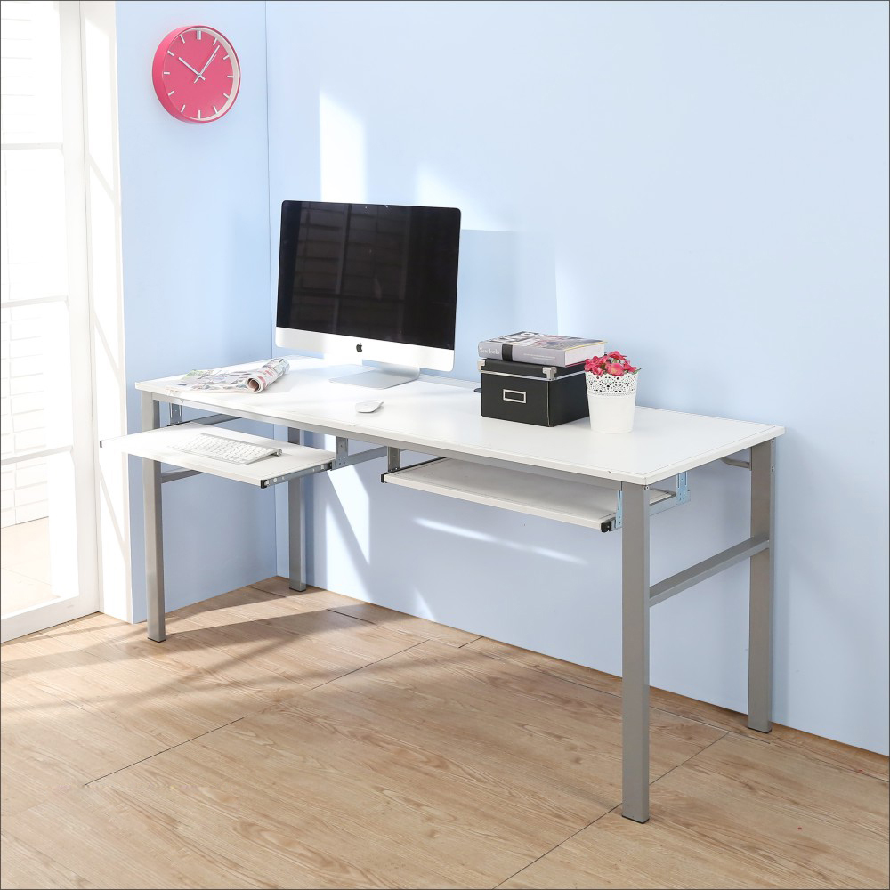 BuyJM低甲醛仿馬鞍皮160公分穩重型雙鍵盤工作桌-DIY