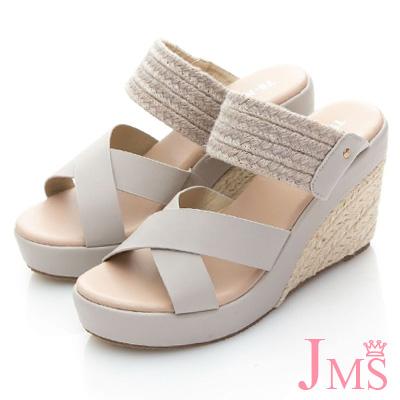 JMS-典雅迷人雙材質混搭楔型涼拖鞋-灰色