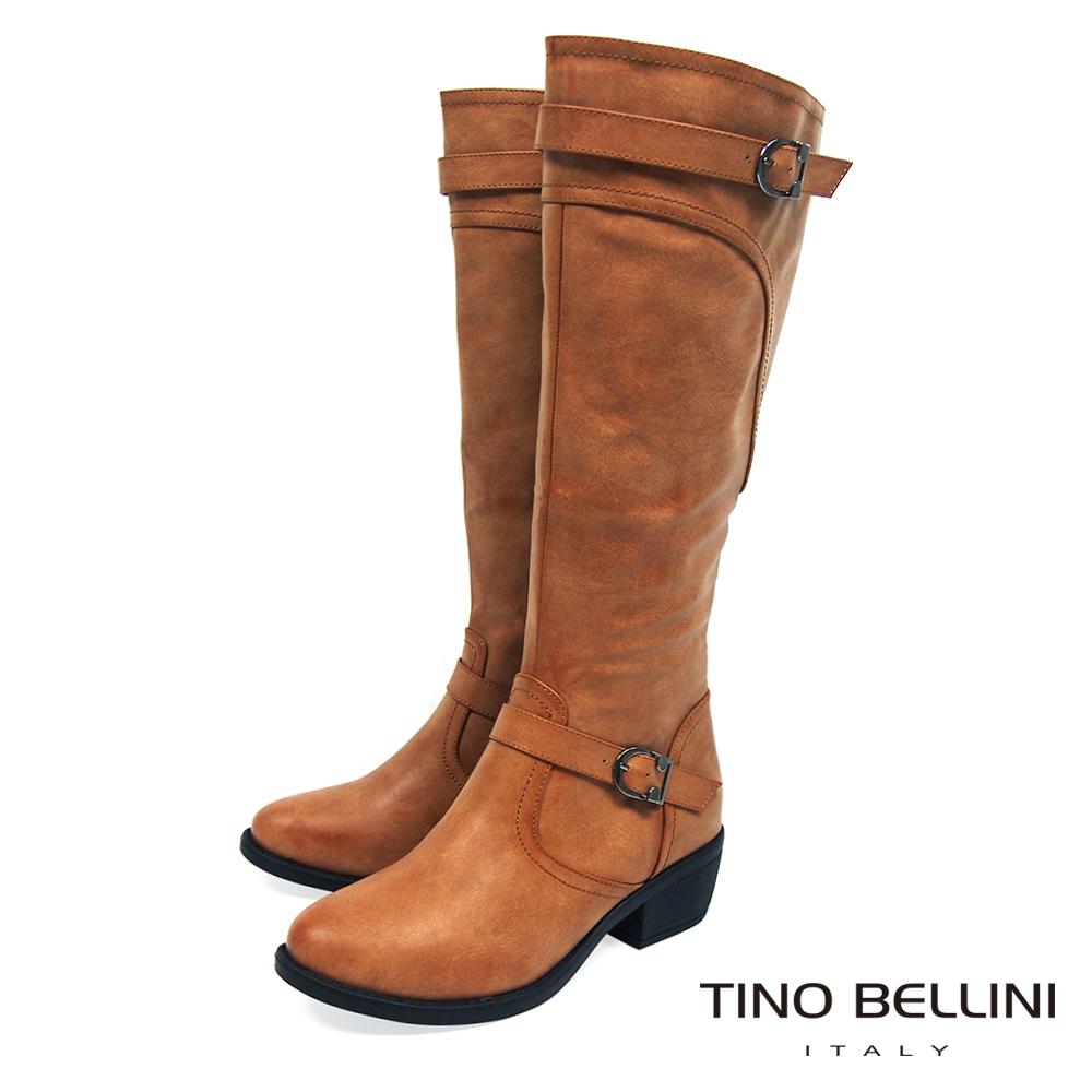 Tino Bellini 騎士精神雙釦帶中跟長靴_棕