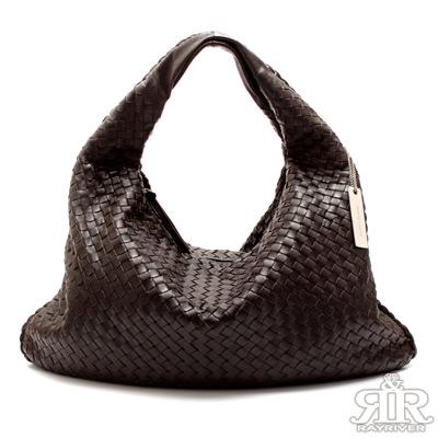 【2R】頂級訂製NAPPA羊皮手工梭織彎月包(伯爵深咖)