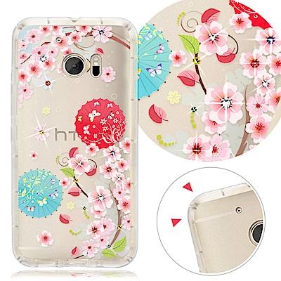 YOURS HTC 全系列 彩鑽防摔手機殼-櫻雨花