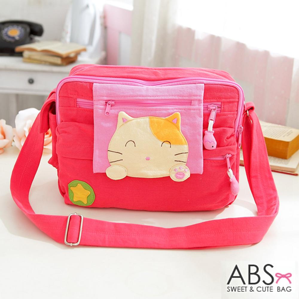 ABS貝斯貓 可愛貓咪拼布 肩背包 斜背包 (粉) 88-192