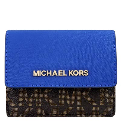 MICHAEL KORS JET SET防刮牛皮雙色LOGO零錢/短夾(藍色)
