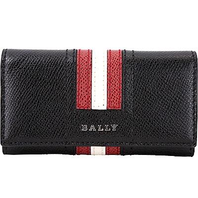 BALLY TALTOS 經典紅白條紋防刮皮革鑰匙包(黑色)
