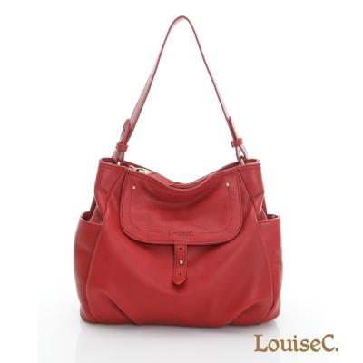LouiseC.多口袋典雅中型肩背包(水洗牛皮)-- 紅色 02C29-0038A01