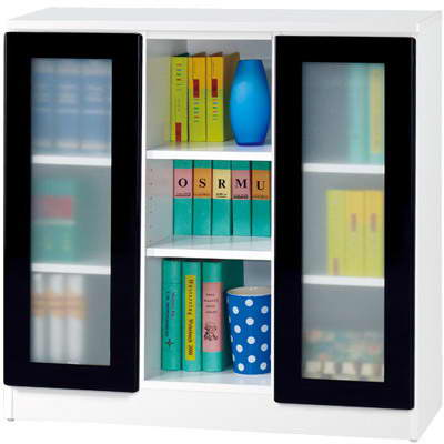 《夢想家》威尼斯3尺雙玻璃門鏡面PU書櫃