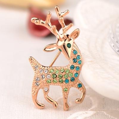 微醺禮物 水鑽 鍍K金 聖誕麋鹿 胸針