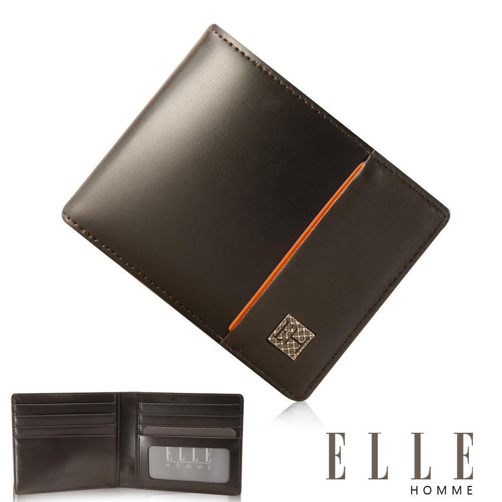 ELLE HOMME 法式精品短夾 嚴選義大利頭層皮 鈔票多層/名片多層設計-咖啡