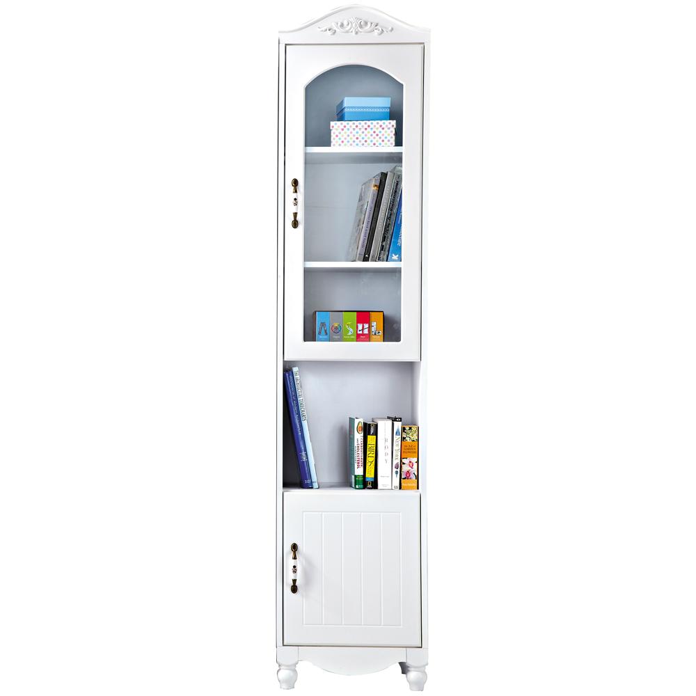 愛比家具 吉兒1.5尺純白開放雙門高書櫃