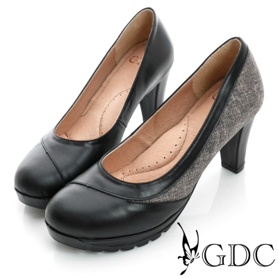 GDC都會-拼接造型防滑厚底真皮中跟鞋-黑色