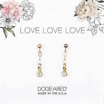 Dogeared love 珍愛系列 經典圓鑽耳環 金色垂墜式耳環 附原廠盒