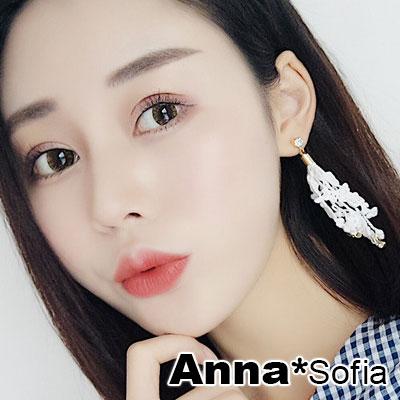 【3件480】AnnaSofia 蕾絲蕊蔓 大型耳針耳環(浪漫白)