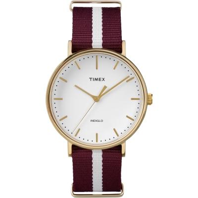 TIMEX 天美時週末Fairfield系列時尚手錶-白紅條紋/ 41 mm