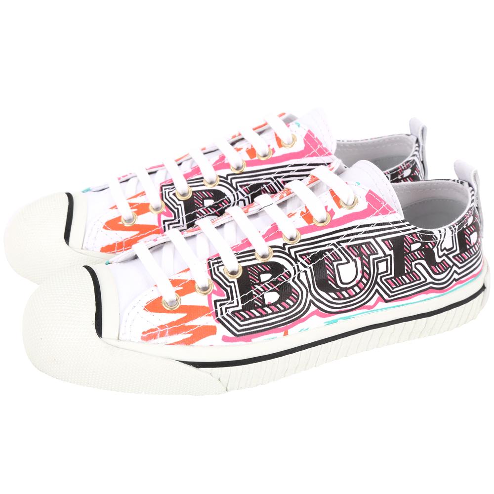 BURBERRY 塗鴉印花塗層棉質運動鞋(女鞋/白色)