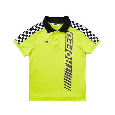FILA KIDS 男童吸濕排汗POLO衫-綠黃 1POS-4427-LM