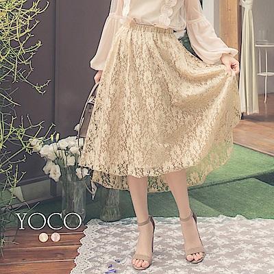 東京著衣-yoco 質感美人優雅蕾絲前短後長傘襬長裙-S.M.L(共二色)
