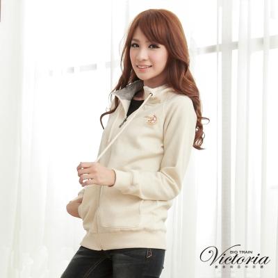 Victoria 連帽刷毛長版小外套-女-灰桔