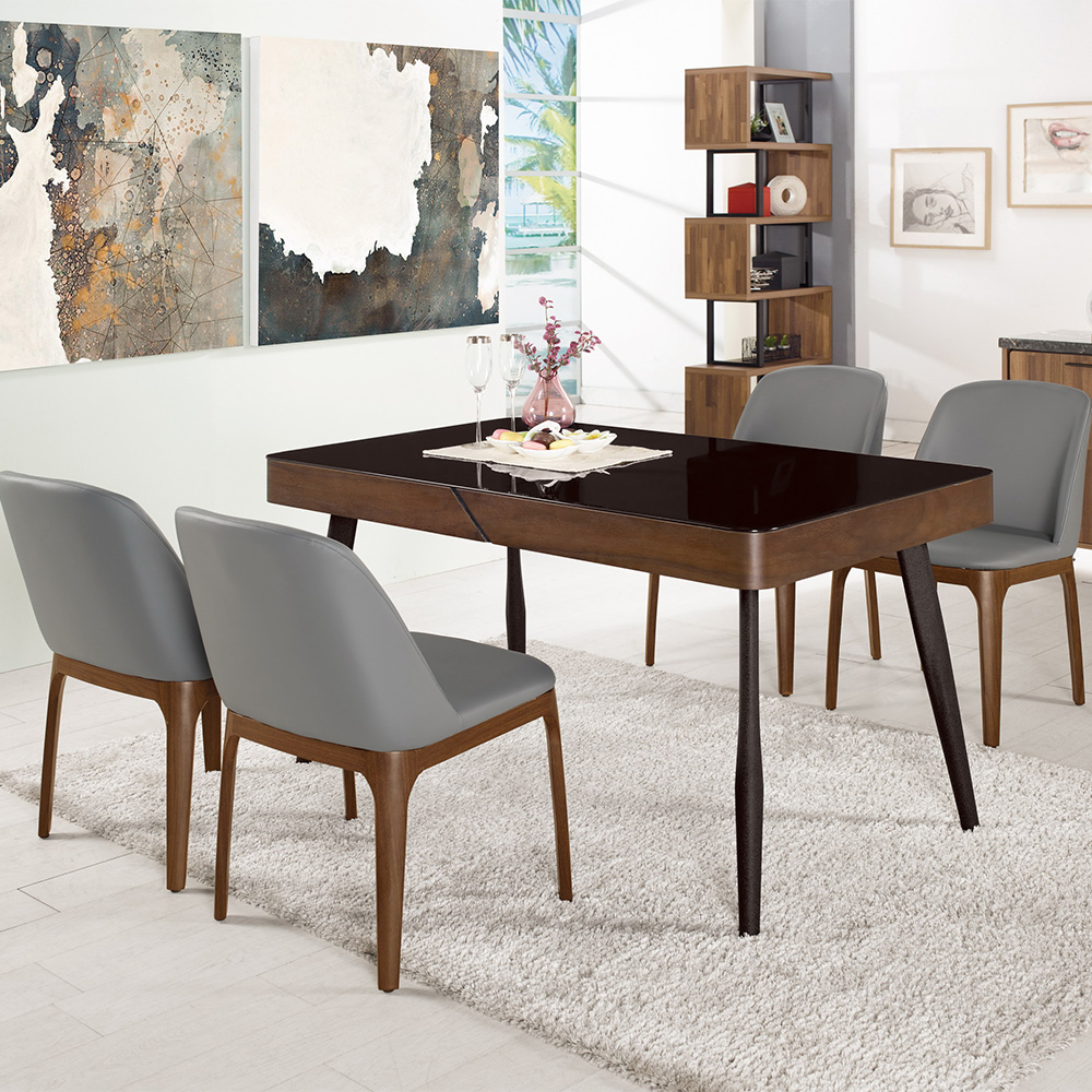 Bernice-維德4.5尺黑色玻璃餐桌椅組(一桌四椅)-135x80x76cm