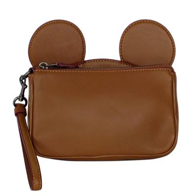 COACHXDISNEY聯名款摩卡全皮MICKEY耳朵手提掛小包