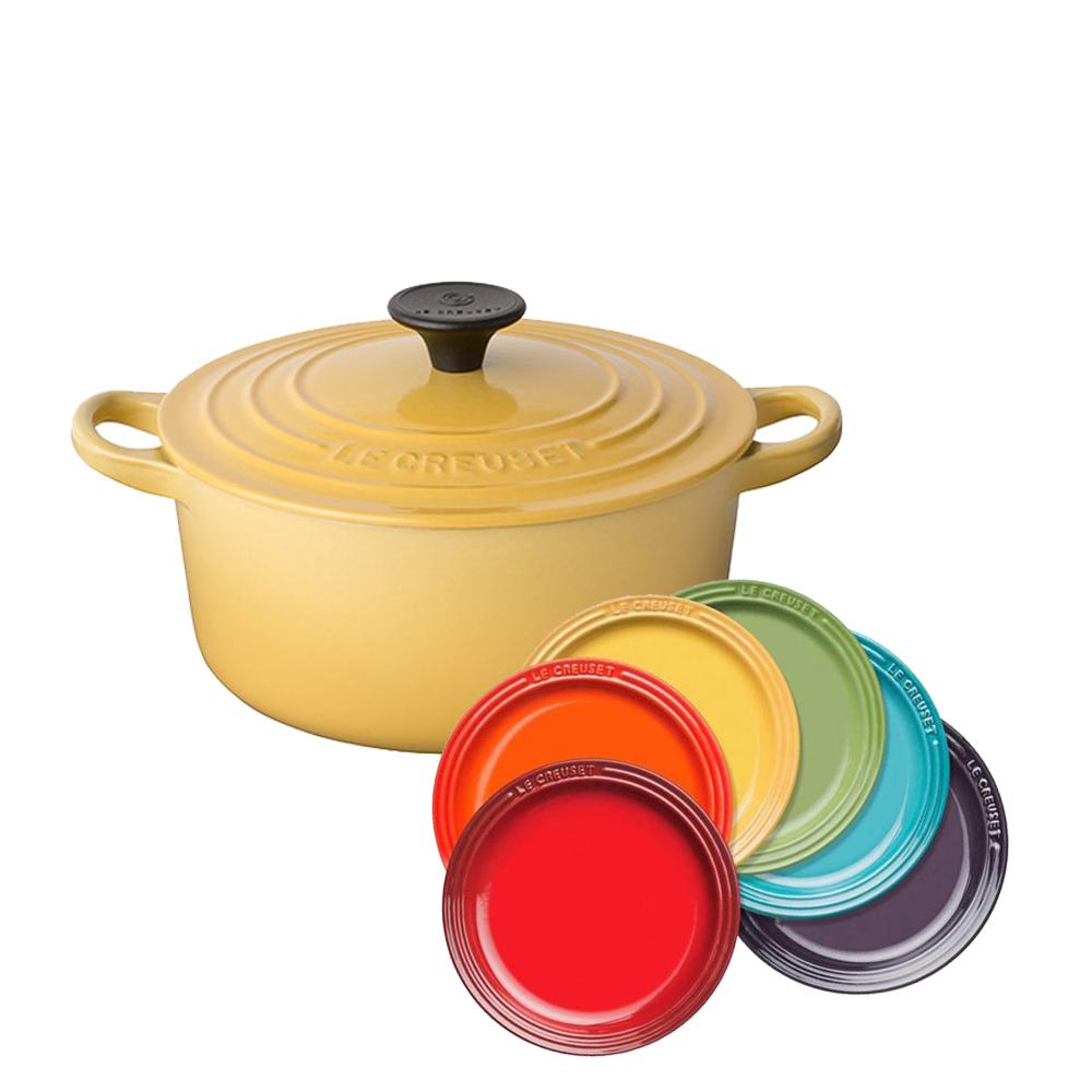 LE CREUSET 琺瑯鑄鐵圓鍋24cm(溫桲黃)   瓷器圓盤組18cm (彩虹)