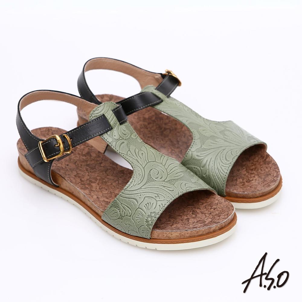 A.S.O 輕量樂活 真皮壓花木紋涼鞋 綠色